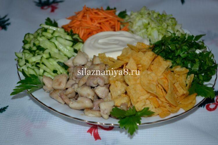салат ромашка с курицей