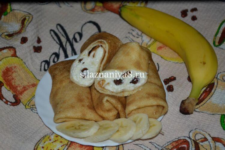 Начинка для сладких блинов с творогом, изюмом и бананом