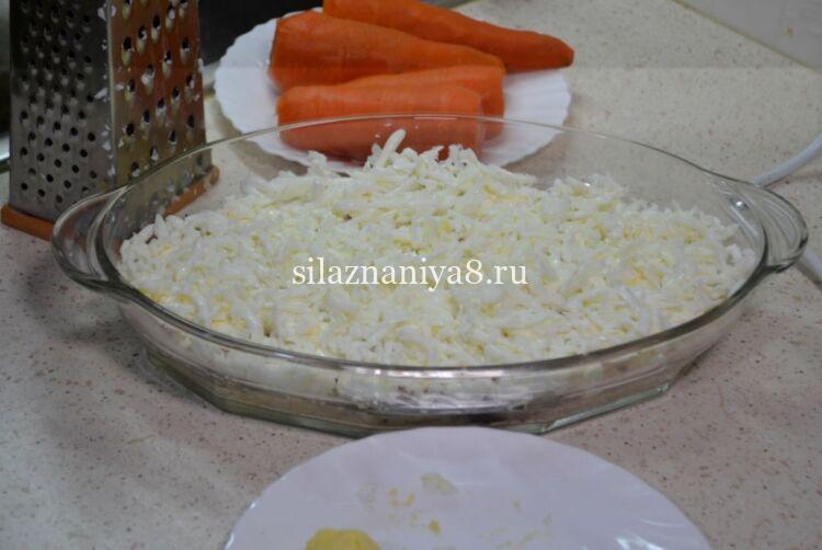 Салат мимоза с яблоком и сыром