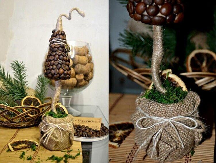елка топиарий из кофе