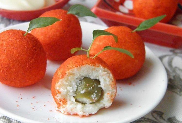 Рецепт приготовления закуски мандаринки с оливками внутри