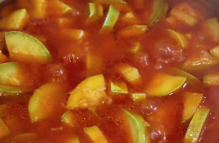 Кабачки с томатной пастой и чесноком тещин язык